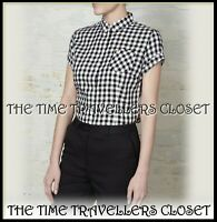 Amy Winehouse Fred Perry Black White Gingham 50s Rockabilly Mod Shirt UK 8 36 4