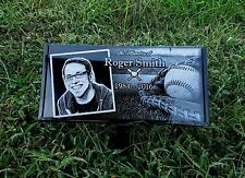 """Personalized Pet Stone Memorial Engraved 6"""" x 12""""  Headstone and stand Dachsund"""