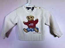 Vtg 90s Polo Jeans Company Ralph Lauren Polo Bear Toddler Sweater 12-24 Mo Read