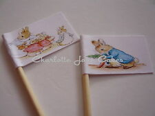 20 CUPCAKE FLAGS/TOPPERS - PETER RABBIT CHILDRENS BIRTHDAY PARTY