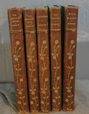 lot 5 antique old decorative leather brown gold Gypsies The Bible in Spain etc