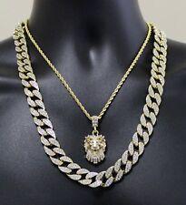 """Mens 3pc Set Lion Head Cuban Link 14k Gold Plated 18"""" 24"""" Hip Hop Chains"""