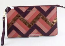 MICHAEL KORS $168 NWT Marquetry Patchwork Daniela large Wristlet Plum Leather