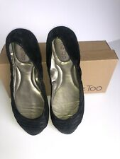 Me Too Black Leather Sparkly Ballet Flats Size 11