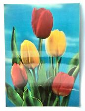 VINTAGE  3D POST CARD Flowers Tulips - Made in Japan