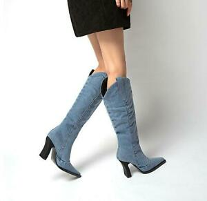 Womens Retro Denim Square Toe Cowboy Mid Calf Boots Chunky Heels Party Shoes