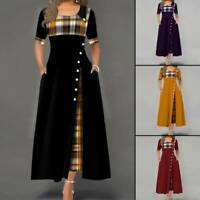 Women Casual Irregular Plaids Button Maxi Dress Half Sleeve Plus Size Dress Ksy