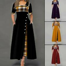 Women Casual Irregular Plaids Button Maxi Dress Half Sleeve Plus Size Dress Clev