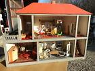 1960-70 riesiges 102x50x78cm DDR PUPPENHAUS Puppenstube mit Dach Balkon Inventar