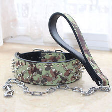Camo Leather Spiked Studded Dog Collar+Leash Lead SET Pitbull Bully S M L XL