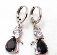 Women Lady New Black Cubic Zirconia White Gold Plated Cat Dangle Hoop Earrings