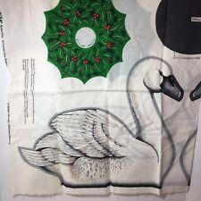 SWAN Wreath Centerpiece Christmas Fabric panel Wildlife Series Cranston doorstop