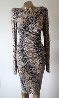 Dress LK Bennett Size 14 100% Silk Fine Stretch Animal Print Ruched Long Sleeve