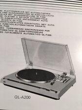 JVC QL-A200 Turntable Original Owners Manual QLA200 Multi Language Manual