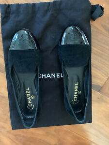 Chanel Suede Patent Leather CC tip Ballet Shoes 37