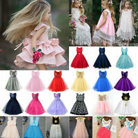 Kids Baby Flower Girl Princess Dress Wedding Pageant Party Bridesmaid Ball Gown