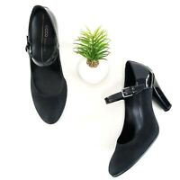 Ecco Pumps Mary Jane Heels Black Patent Leather Suede Womens Shoes Size 40 9-9.5
