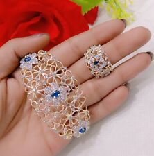 Indian Bollywood American Diamond Gold Plated Bracelet Ring Free Size Combo Set