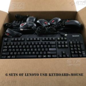 Lot of 6 Sets Lenovo USB Keyboard+Mouse Bundles  FRU-41A5100 41A5289  54Y9400...
