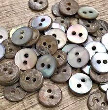 SHELL Button Lot 20 Grey 12L 7.6mm Natural Micro Barbie Real Pearl Crafts Doll