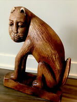 """Antique Carved Wood Cat Folk Art Primitive Anthropomorphic as is 13"""""""