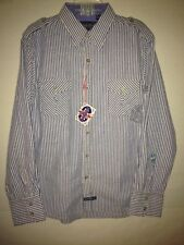 ENGLISH LAUNDRY PEOPLE'S ARMY NWT Vintage BLUE/WHITE stripe SEERSUCKER XL shirt