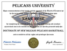 NEW ORLEANS PELICANS PERSONALIZED FAN DIPLOMA, GREAT GIFT