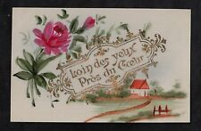 C1916 French plastic card - flower & farm house