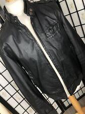 River Island Black Leather Jacket Bomber Short Style Size Large