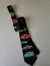 Race Cars II 1997 Mens Tie Black Muscle Colorful Racing Cars Brother's Hand Made