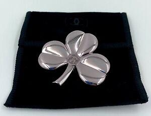 CHANEL brooch badge pin lucky clover logo metal silver rare NEW VIP GIFT
