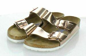 20-58 $135 Women's Sz 40 N Birkenstock Arizona Metallic Leather Footbed Sandals