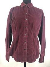 Eddie Bauer Womens Medium Purple Corduroy Button Down Shirt Casual Top Cotton