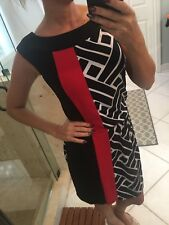 White House Black Market Jersey dress S Small Black and Red striped