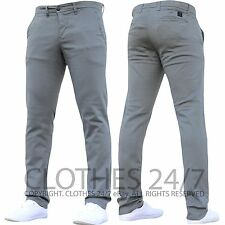 Mens Designer Trousers Chinos Stretch Skinny Slim Fit Jeans All Waist & Sizes H1