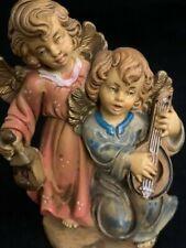 "Fontanini Like Italy 54 Resin Figurine 2 Angels W/ Lantern & Lute 5"""