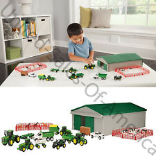 Farm Toy Playset Machine Shed Tractor ATV Trucks Wagons Kids Play Game 70 Pieces