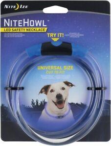 """New Nite Ize NiteHowl LED Safety Necklace Dog Collar Glow Flash 12-27"""" BLUE"""