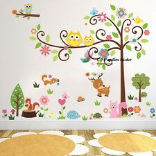 Woodland Owl Flower Swing Tree Deer Bird Unisex Baby Nursery Wall Mural Sticker