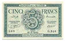 Algeria Algerie Rare Banknote 5 Francs France 1942 AU UNC P91 WW2 Free Shipping