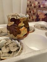 Fall Leaves Themed Porcelain Harvest Votive Holders Set /Lot of 6 NIB #11689 New