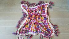 "Anna Sui Large 32"" Square Chiffon Scarf, / Shawl, Colorful, w/ 4"" Fringe - NWT"