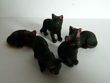 (G2.24) 1/12th scale DOLLS HOUSE RESIN SET OF FIVE ASSORTED BLACK CATS