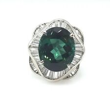 6.92 ct Oval Green Tourmaline in Plat Diamond Baguette Ballerina Ring - HM1422
