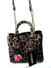 STEVE MADDEN Leopard Bmicro Embroiderd Mini Satchel Handbag Chain Strap New NWT