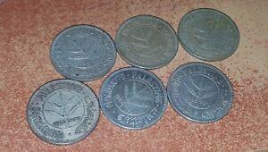 6 BRITISH MANDATE PALESTINE SILVER COINS 50 MILLS , 1935/39/40/33/42/27 YEAR