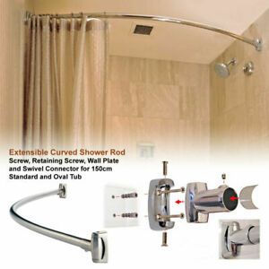 STANDARD CURVED EXTENSIBLE STEEL CHROME BATHTUB SHOWER CURTAIN ROD RAIL
