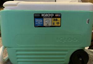 Igloo Cooler 38qt Mint Green Wheelie Made in USA