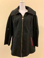 Dennis Basso Water Resistant Zip Front Jacket with Hidden Hood - Black - Medium
