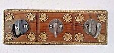 Vintage Style Brass Fitted Wood Hand Carved Triple Hook / Wall Hook